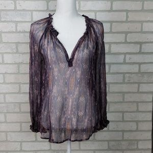 Ella Moss Sheer V-neck Ruffle Collar SM Purple